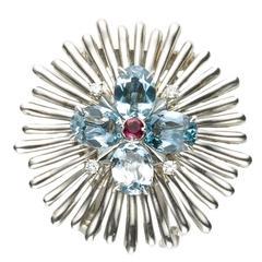 Cartier Aquamarine Diamond Gold Flower Brooch
