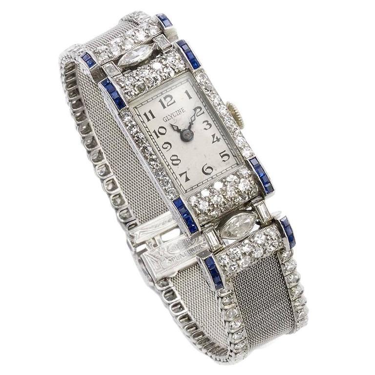 Glycine Ladies Platinum Diamond Wristwatch