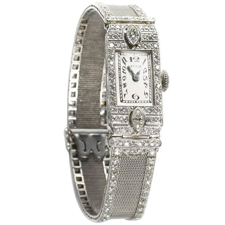 Gattle Ladies Platinum Diamond Wristwatch
