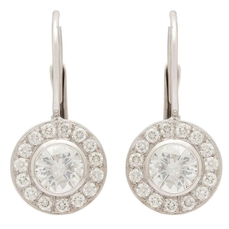 2.06 Carat GIA Certified Round Brilliant Diamonds Platinum Halo Earrings For Sale