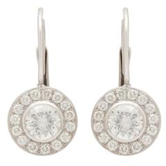 2.06 Carat GIA Certified Round Brilliant Diamonds Platinum Halo Earrings
