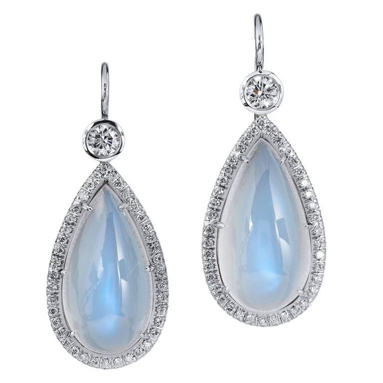 Moonstone  Diamond Earrings For Sale