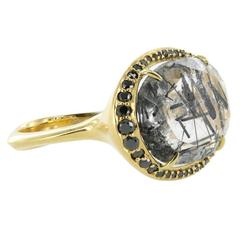 Black and Clear Tourmalinated Quartz Gold Ring