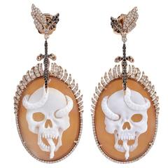 Skull Cameo Diamond Earring with Diamonds