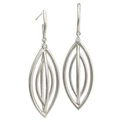 Geoffrey Good Diamond Matte Silver Cage Kidou Drop Earrings