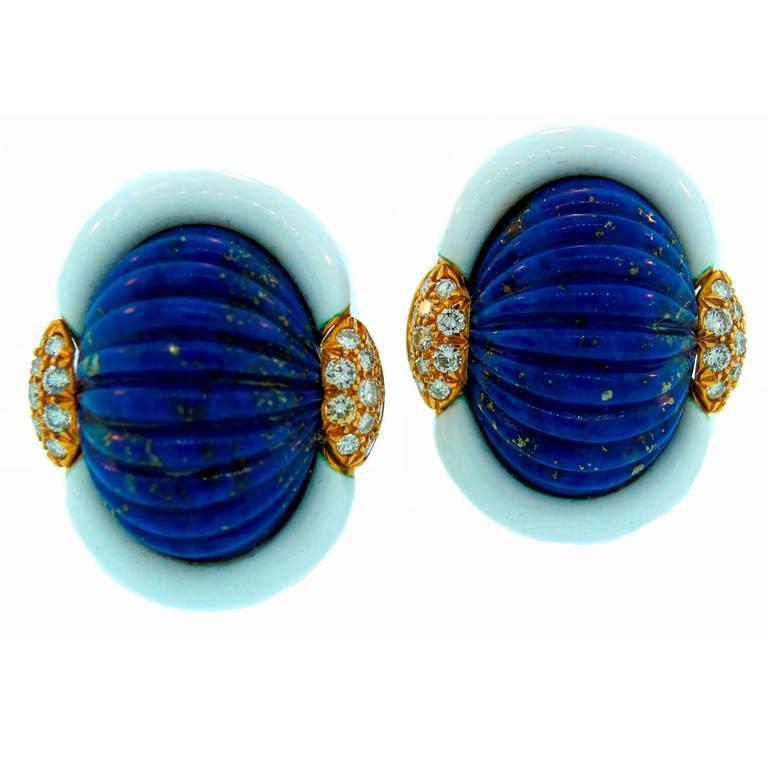 Andrew Clunn Carved Lapis Lazuli Enamel Diamond Gold Earrings