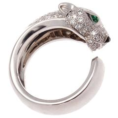 Cartier Panthere Emerald Onyx Diamond Gold Ring