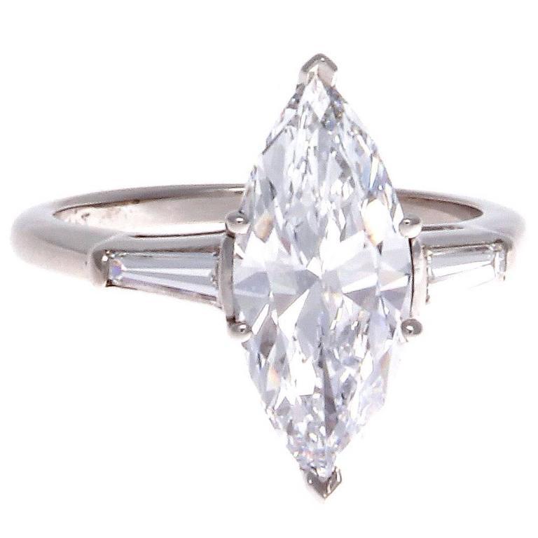 Rare 2 21 Carat D Vvs1 Gia Cert Marquise Diamond Platinum