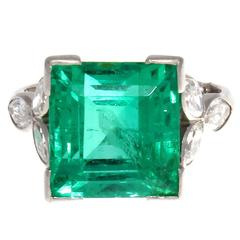 7 Carat Colombian Emerald Diamond Platinum Ring