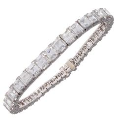 Important Art Deco Step Cut Diamond Platinum Bracelet