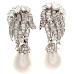 David Webb Pearl Diamond Platinum Day and Night Earrings
