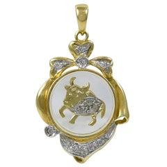 Taurus Diamond Gold Spinning Charm