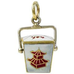Chinese Take-Out Box Enamel Gold Charm