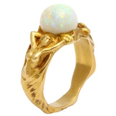 Figural Art Nouveau Opal and Gold Ring