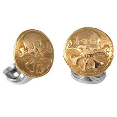 Deakin & Francis Sterling Silver 230 Coin Skull and Crossbones Cufflinks