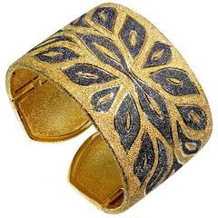 Alex Soldier Silver Gold Platinum Textured Cuff Bracelet