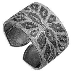 Alex Soldier Silver Platinum Textured Cuff Bracelet