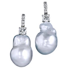 Natural Silver Baroque Pearl Earrings with Diamonds White Gold Lever Back