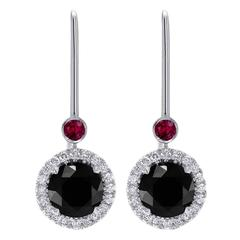 Ruby and Round Black Diamond Halo Gold Drop Earrings