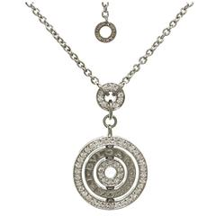 Bulgari Cerchi Diamond Gold Pendant Necklace