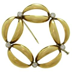 1980s Diamond Two Color Gold Brooch