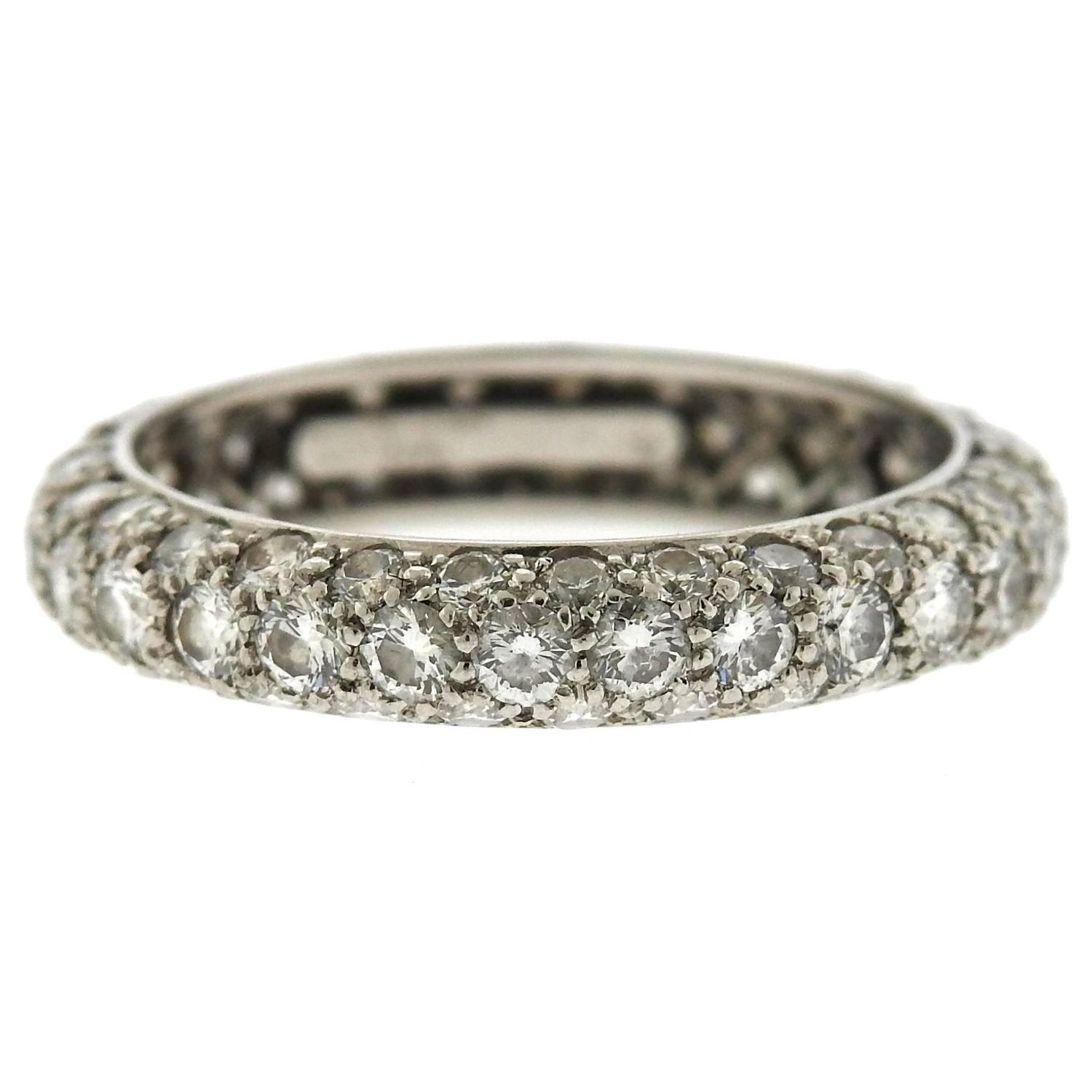 Tiffany And Co Etoile Diamond Platinum Three Row Band