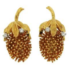 Diamond Gold Exotic Fruit Earrings