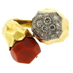 Kutchinsky Coral Diamond Gold Bypass Ring