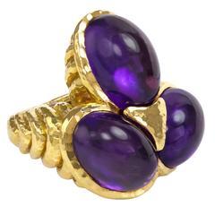 1970s David Webb Amethyst Gold Grapes Ring