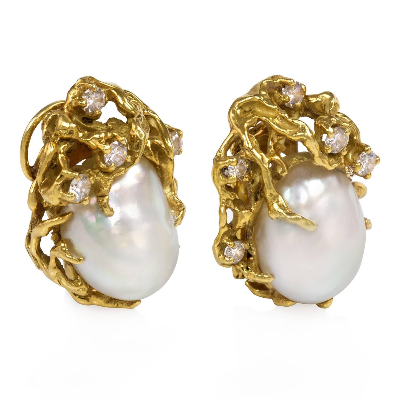 1970s Arthur King Organic Pearl Diamond Gold Earrings at 1stdibs