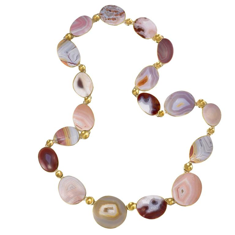 Tom and Jutta Munsteiner Agate and Gold Bead Necklace