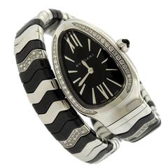 Bulgari Stainless Steel Diamond Ceramic Serpenti Quartz Wrap Bracelet Wristwatch