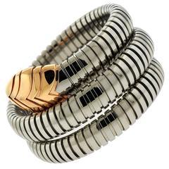 Bulgari Serpenti Stainless Steel Gold Wrap Around Bracelet