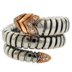 Bulgari Serpenti Diamond Stainless Steel Gold Wrap Around Ring