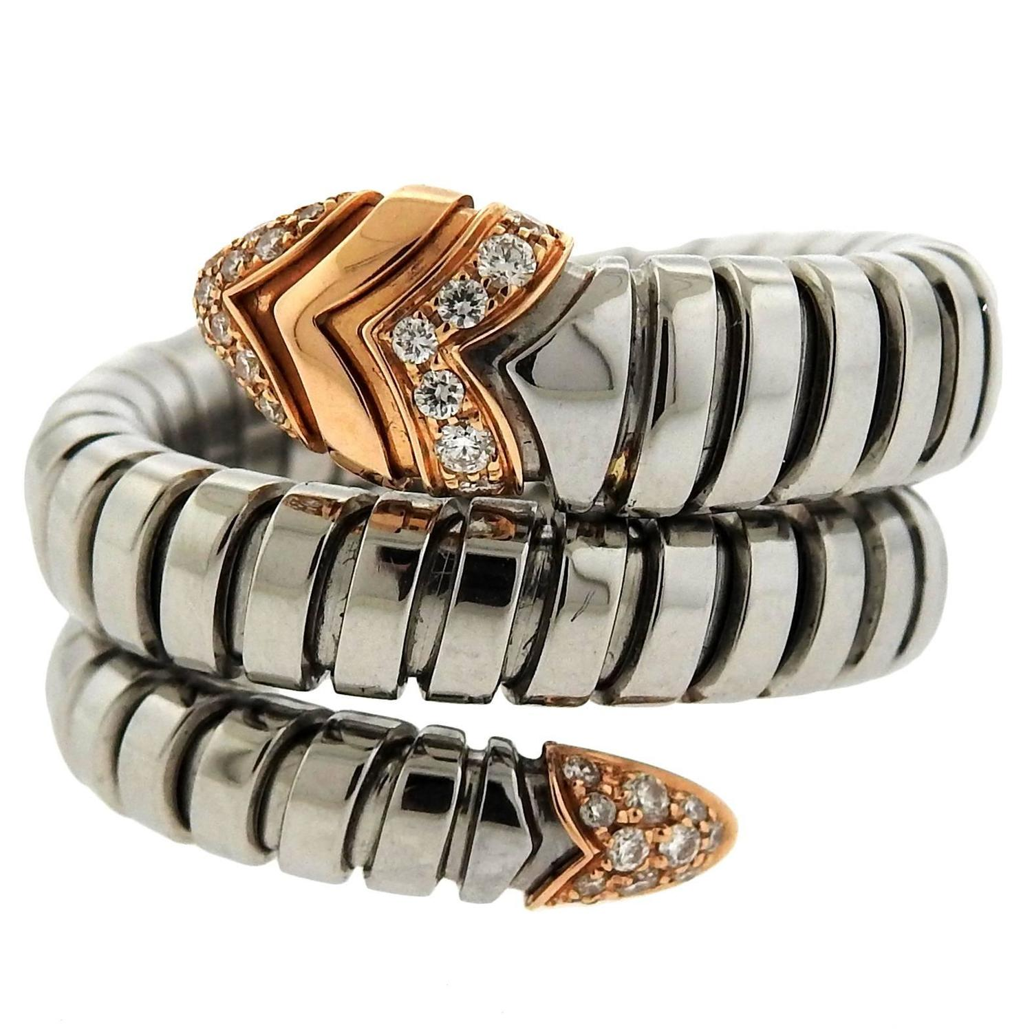 bulgari serpenti diamond stainless steel gold wrap around ring for sale at 1stdibs