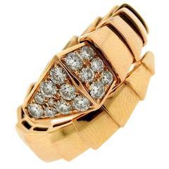 Bulgari Serpenti Diamond Gold Wrap Ring
