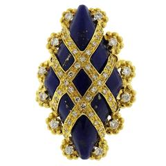 Gold Diamond Lapis Ring