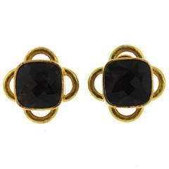 Elizabeth Locke Smokey Topaz Gold Earrings