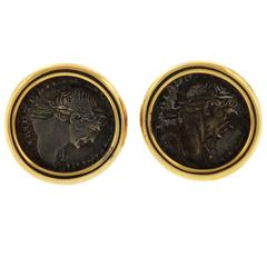 Bulgari Monete Ancient Coin Gold Earrings