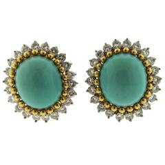 1960s Gold Turquoise Diamond Earrings