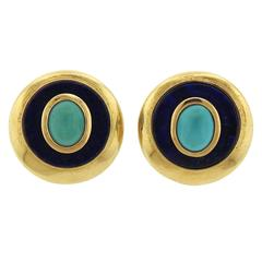 Lapis Turquoise Gold Earrings