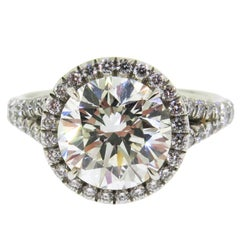 GIA Certified 3.01 ct. Round Diamond Platinum Halo Engagement Ring