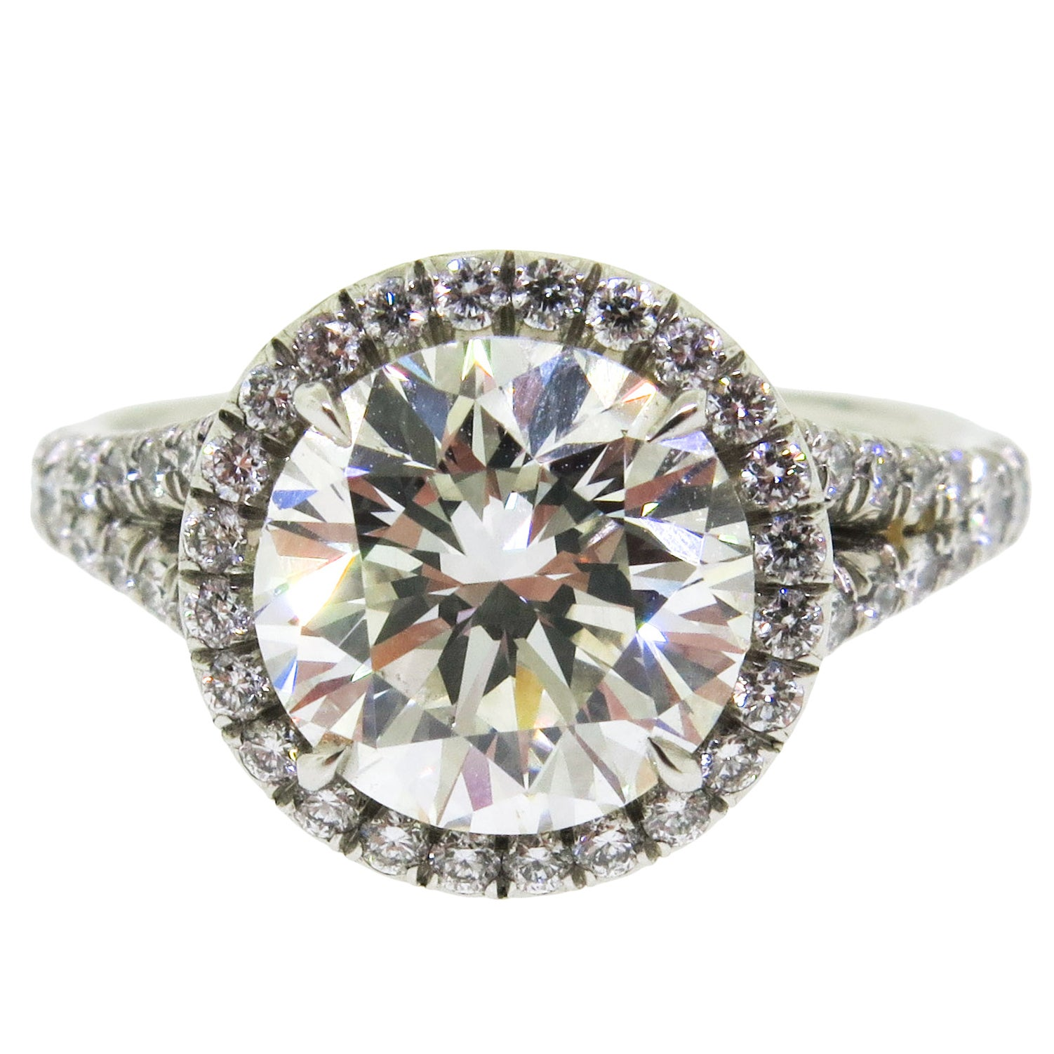 GIA Certified 3.01 ct. Round Diamond Platinum Halo Engagement Ring