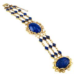Arts and Crafts Lapis Lazuli Gold Link Bracelet