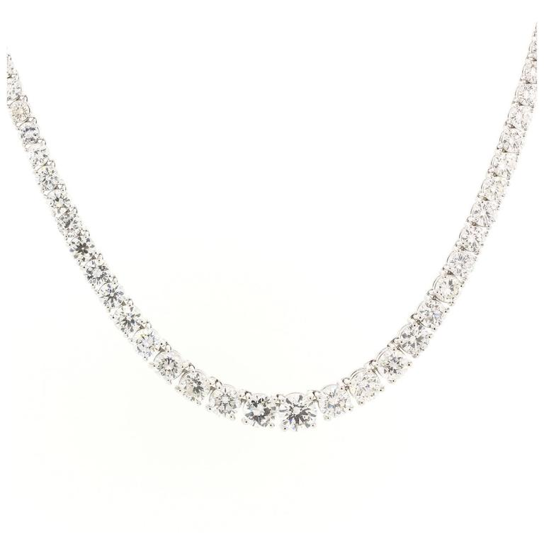 Diamond Gold Riviere Necklace For Sale