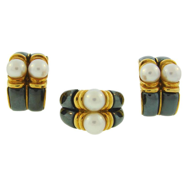 1980s Bulgari Pearl Hematite Yellow Gold Earrings and Ring Set