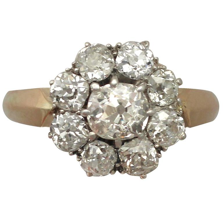 Antique 1910s 2.39 Carat Diamond and 14k Yellow Gold Cluster Ring