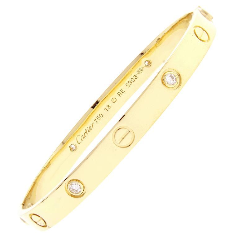 Cartier Four Diamond Gold Love Bracelet 1