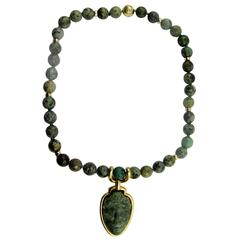David Webb Agate Bead Gold Pendant and Necklace