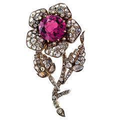 Georgian En Tremblant Pink Tourmaline Rose Cut Diamond Flower Brooch